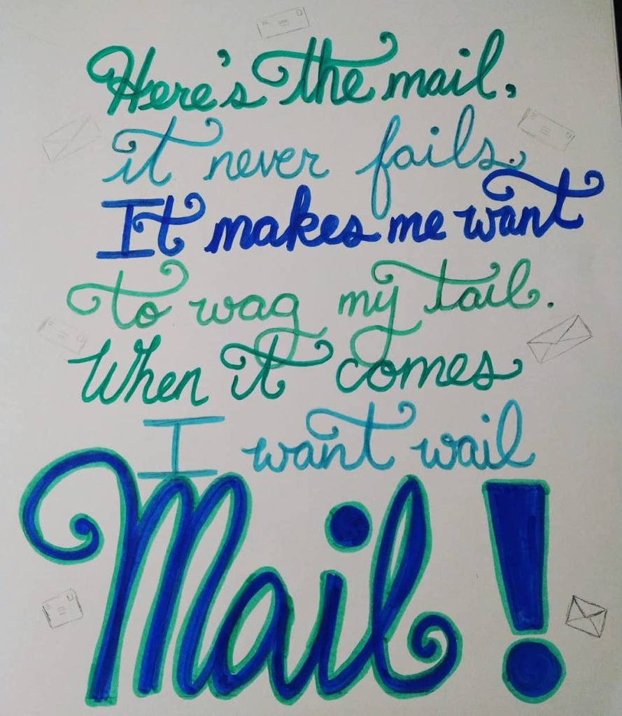 Drawing of the Blue's Clue Mail song lyrics.